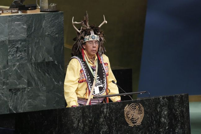 Tadodaho Sid Hill, Chief of the Onondaga Nation, delivers the ceremonial welcome at the opening of the Sixteenth Session of the United Nations Permanent Forum on Indigenous Issues. UN Photo/Evan Schneider