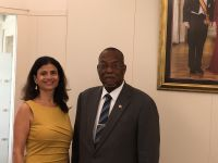 St. Maarten's Minister of Justice, Rafael Boasman (right) and newly appoint President of the Joint Court of Justice, Her Honor Eunice Saleh (left). (Photo contributed)