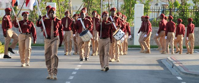 The St. Maarten Youth Brigade marching.