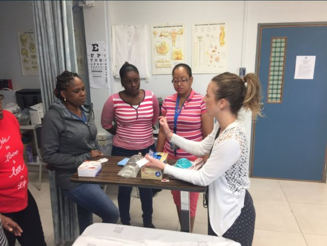 Nurse Educator, Christina Emanuele, from the SickKids Centre for Global Child Health (right) engaging some of the regional nurses during one of the practical sessions. (Photo contributed)