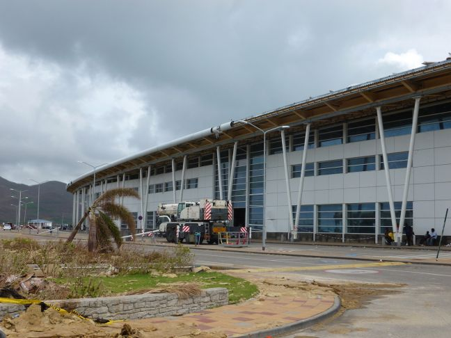 SXM Airport Terminal Building.  Clean-up at the airport continues.  Crews have been very busy and much of the outside debris has been removed.
