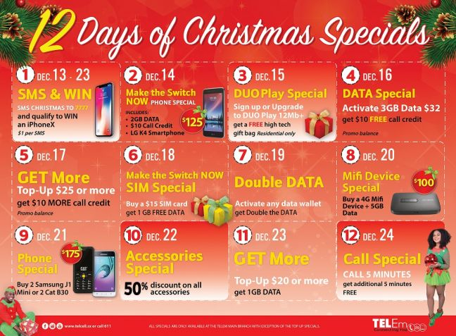 Twelve full days of Christmas Specials get under way at TelEm Group Wednesday.
