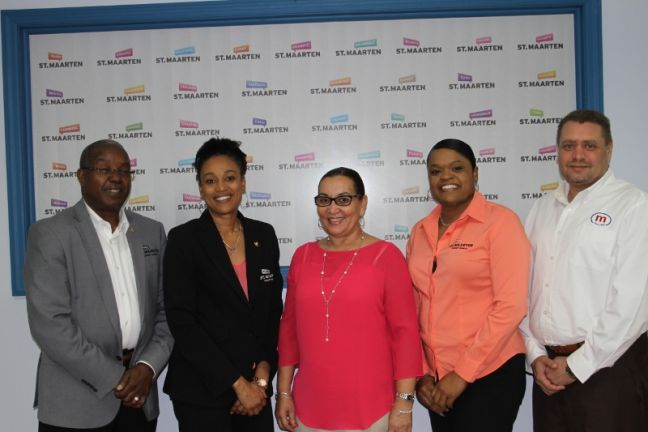 L-R, Mr. Augusto Priest, Interim Director; Ms. Marla Chemont, Acting Marketing Director; Ms. Charlyse Williams, Travel Division Manager S.E.L Maduro; Ms. Cherinah Franken, Product Development Assistant; Mr. Sjaoel Richardson, General Manager S.E.L Maduro.