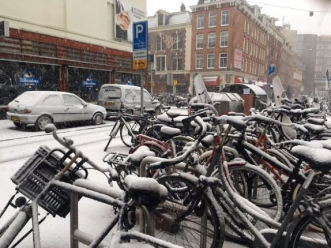 Snow in Amsterdam.