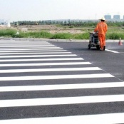 Pedestrian crossing and speed bump painting on February 26