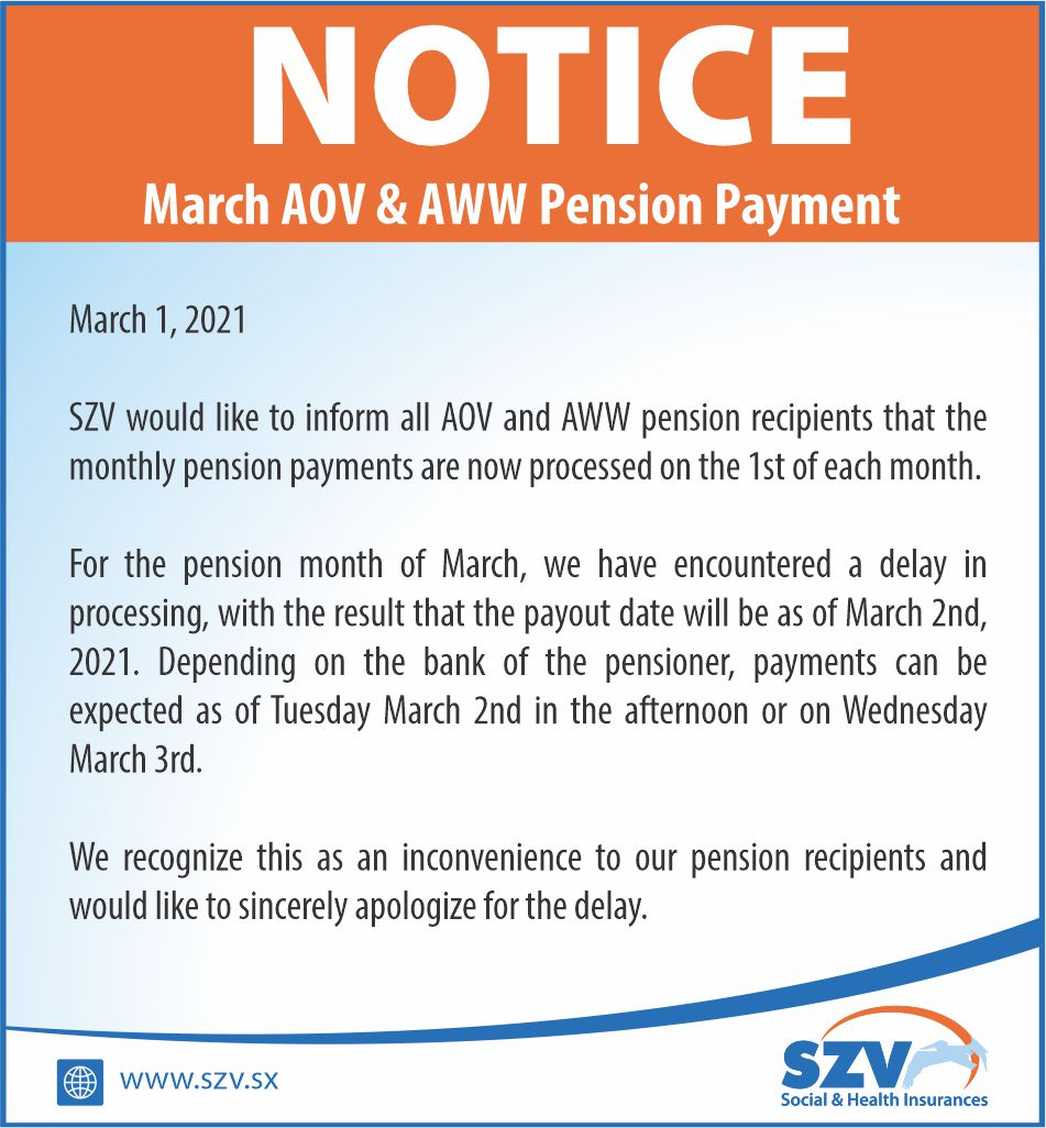 NOTICE AOV PENSION PAYMENT March 2021