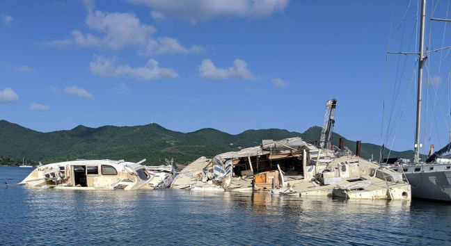 Boat wrecks in the Simpson Bay Lagoon.