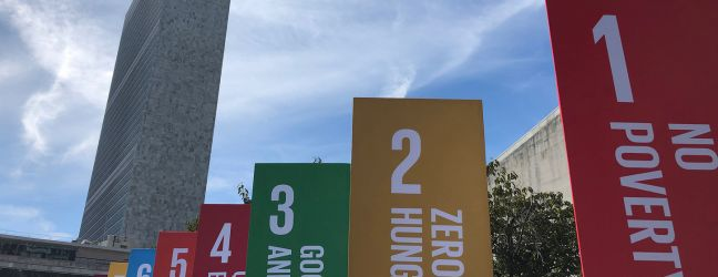 UN News/Conor Lennon Sustainable Development Goals (SDGs) banners outside the United Nations Headquarters in New York. 20 September 2019.