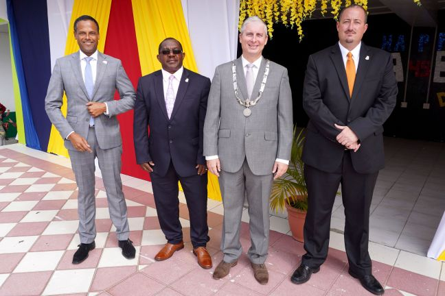 Saba's Executive Council during the Saba Day 2020 celebration. From left: Island Secretary Tim Muller, Commissioner Rolando Wilson, Island Governor Jonathan Johnson, Commissioner Bruce Zagers. (File photo/Public Entity Saba)