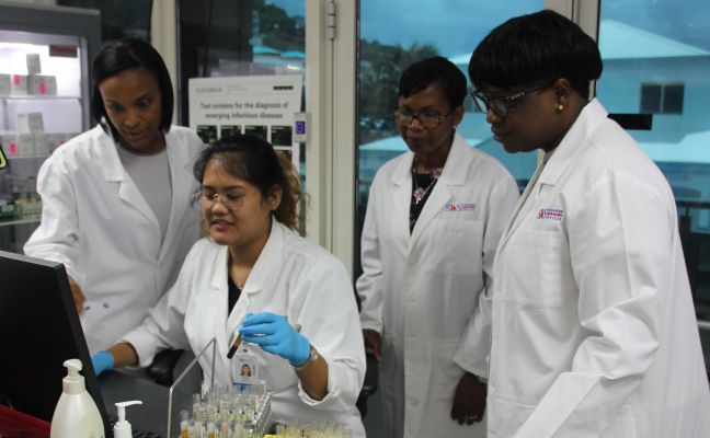 SLS Interim Director / Clinical Chemist Dr. Chérina Fleming, SLS Employee at Main Lab, Secretary Cabinet of Minister VSA - Chantale Groeneveldt, Prime Minister & Acting Minister VSA Leona Romeo Marlin.