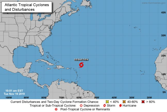 18th named storm of the season Sebastien forms north of the Leeward Islands