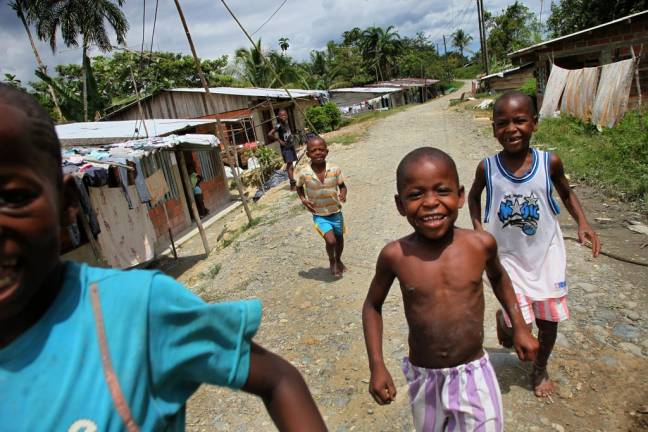 Afro-Colombian children displaced from their rural homes, find refuge near the city of Buenaventura