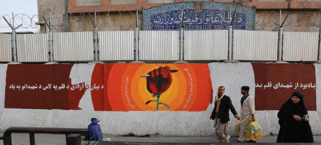 UNAMA/Fardin Waezi A mural commemorating journalists killed in Afghanistan has been painted on a blast wall in downtown Kabul, Afghanistan.