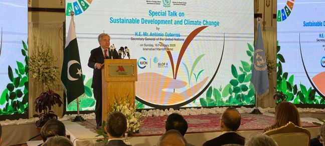 May Yaacoub/UN News Secretary-General António Guterres delivers an address at a 'Special Talk on Sustainable Development and Climate Change', in Islamabad, Pakistan.
