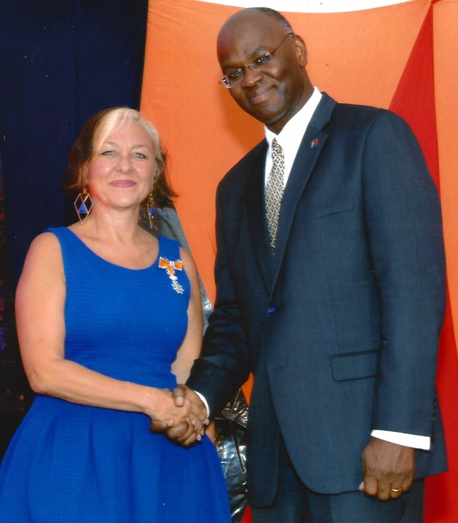 L to R, Arlene Halley, His Excellency Governor Eugene Holiday
