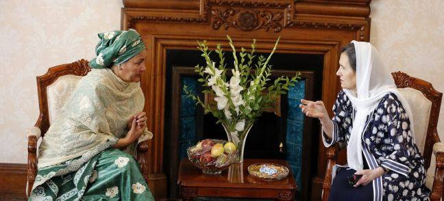 Fardin Waezi / UNAMA United Nations Deputy Secretary General Amina J. Mohammed, (left) meeting Afghanistan's First Lady Rula Ghani in Kabul. (20th July 2019)