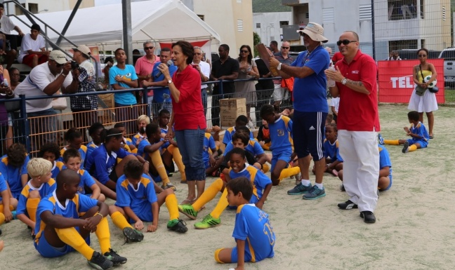 Prime Minister, Mrs. Sarah Wescott-Williams addressed  players and spectators on the benefits of youth sports to the St. Maarten community during the awards presentation ceremony of this year's Interscholastic Soccer Tournament hosted by the St. Maarten Soccer Education Foundation (SMSEF).