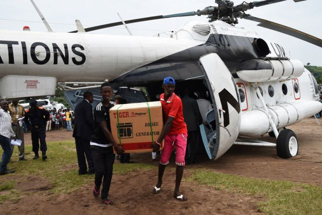 MONUSCO The UN peacekeeping mission in the Democratic Republic of the Congo has been providing assistance to the election process. Here, in March 2017, a generator is unloaded from a UN helicopter in Popokabaka in the south-west of the country.