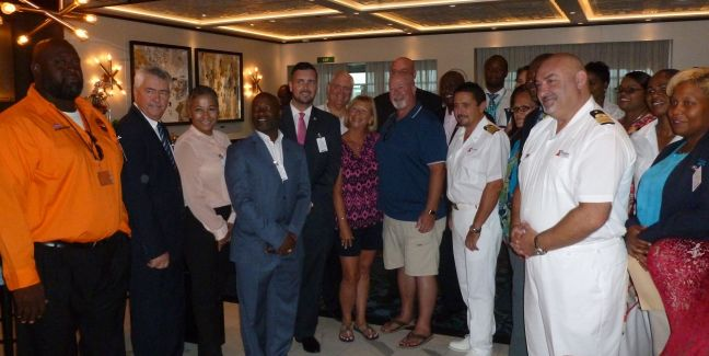 Port St. Maarten Supervisory Board and Management representatives, Minister of Tourism Stuart Johnson, the one-millionth cruise passenger couple Cheryl and Tim, Carnival Horizon Captain Luigi de Angelis, along with tourism stakeholders and CCL officers during the inaugural call on Thursday.