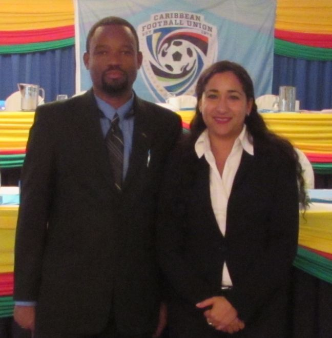 Dwayne Wright and Danaë Daal at the CFU general meeting. (Photo contributed)