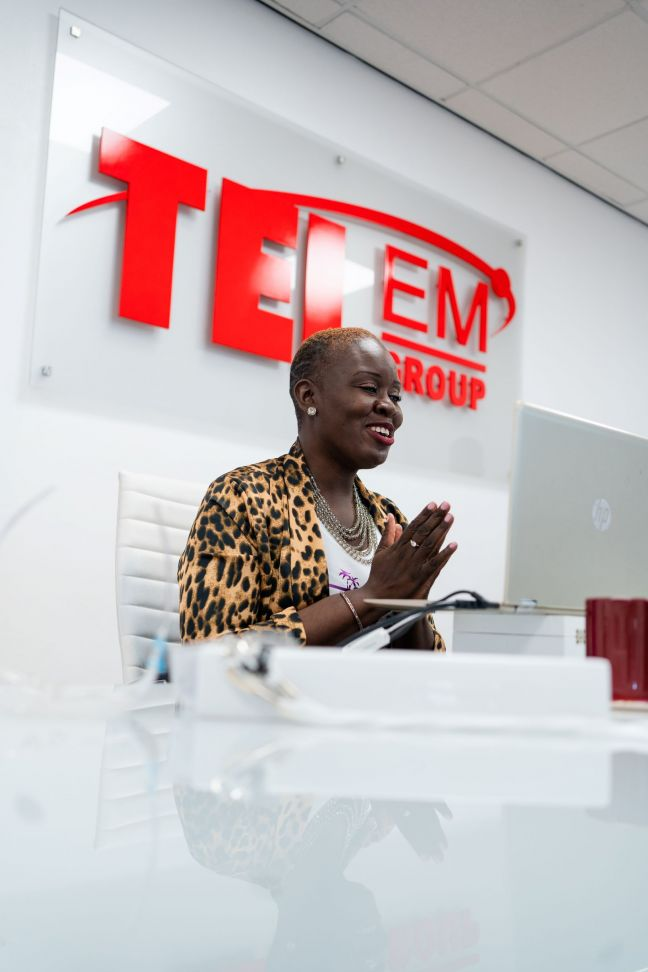 Ife Badejo, Founder/CXO of  PWR Agency, hosting a virtual event at TelEm's headquarters in June 2020.