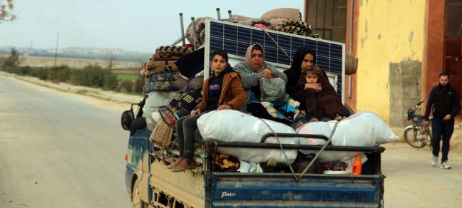 © UNICEF/Forat Abdoullah Women and children ride in the back of a truck as families flee from Saraqeb and Ariha in Syria's south rural Idlib Governate to escape escalated conflict.