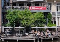 A terrace in Amsterdam reopens for business after lockdown. Credit: Bas Horsting