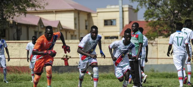 UNMISS/Flickr South Sudan Under-23 A and B football teams battled it out in a fierce competition for supremacy while also sharing messages of peace and unity with fans during a match in the capital, Juba, in 2019 (file photo).