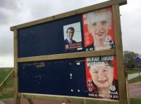 An election poster in Friesland featuring Forum and the PvdA. Photo: DutchNews