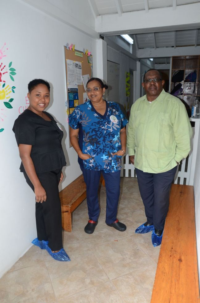 Commissioner Rolando Wilson (right) visited the Laura Linzey Day Care on Monday, May 18 on the occasion of its reopening after the lockdown period.