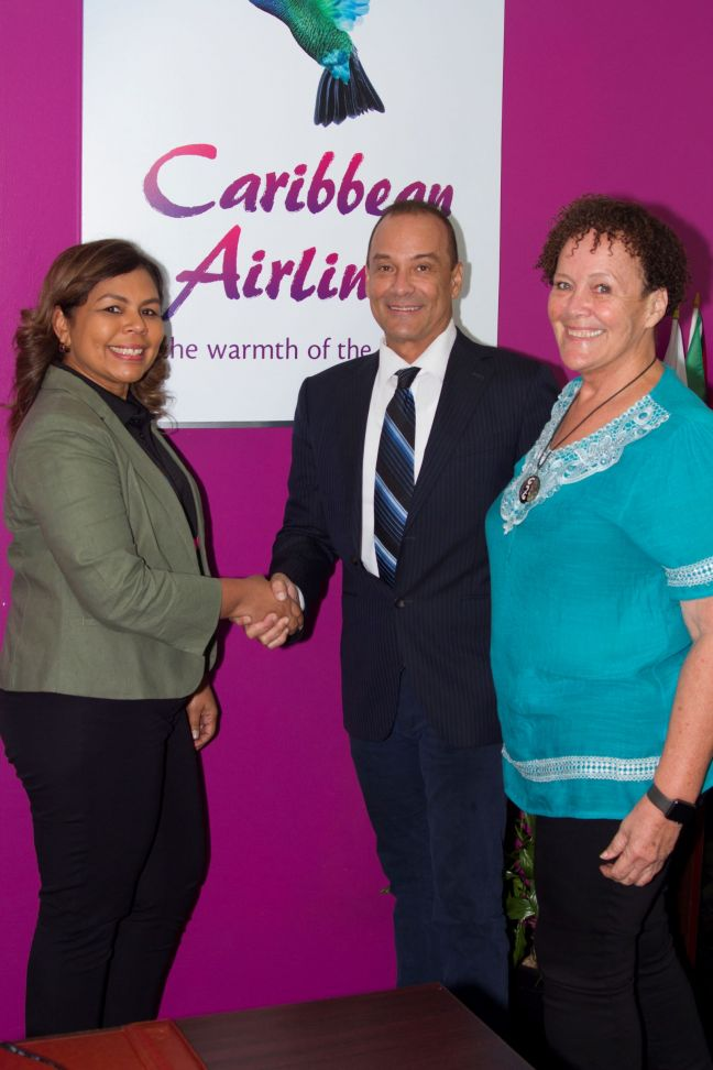 L-R - Alicia Cabrera, Executive Manager, Marketing & Loyalty, Caribbean Airlines Limited, Colin Borde, Logistics Manager, Plan It Productions, and Niki Borde, Event Manager, Plan It Productions at the Caribbean Airlines Piarco Head Office.