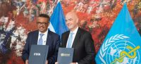 WHO WHO Director-General Dr Tedros Adhanom Ghebreyesus and FIFA President Gianni Infantino sign memorandum of understanding at WHO's Geneva-based headquarters.
