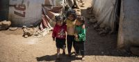 UNICEF/Siegfried Modola Syrian refugee children are pictured in an informal settlement near Terbol in the Bekaa Valley of Lebanon (April 2019)