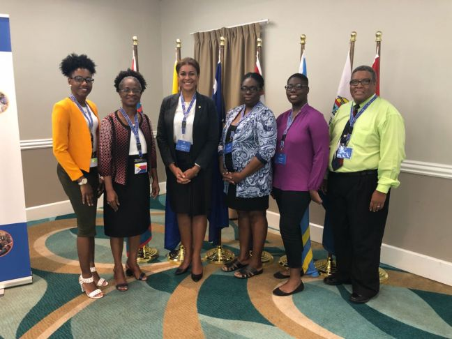 The St. Maarten delegation left to right: Michnella Eugenio - support team member, Shermina Powell-Richardson - Acting Secretary General Ministry of Education, Culture, Youth and Sport, Minister Jorien Wuite, Connie Francis-Gumbs - President of St. Maarten Youth Council, Kamilia Gumbs - President of the St. Maarten Youth Parliament, Erick van Arneman - Opvoedambassadeur and Senior Policy Execution Officer Ministry of Public Health Social Development and Labour.