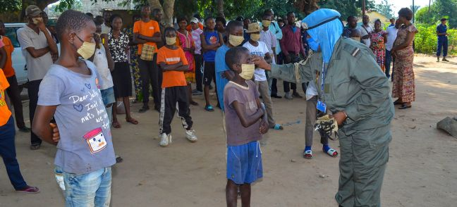 MONUSCO UN Police hold a COVID-19 information session for vulnerable street children in Kananga, Democratic Republic of the Congo.