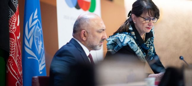 UN Photo/Violaine Martin Mohammad Haneef Atmar (left), Minister of Foreign Affairs of Afghanistan confers with Deborah Lyons, Special Representative of the Secretary-General of the United Nations for Afghanistan at the UN in Geneva.
