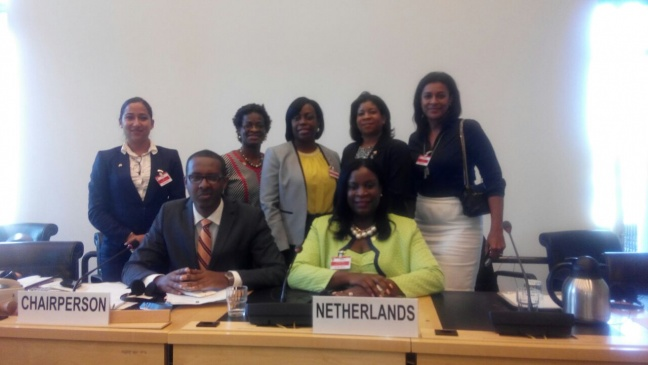 Minister Hon. Rita Bourne-Gumbs (right seated) along with the Sint Maarten delegation and Vice Chairman of the United Nations National Committee of the Rights of the Child, Prof. Benyam Dawit Mezmur (left seated).