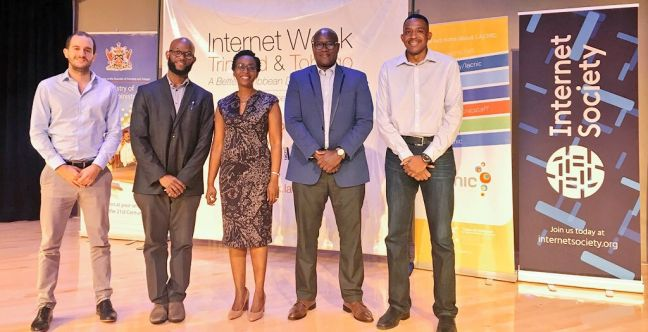 Left to right, Gabriel Recalde, Google; Kevon Swift, LACNIC; Shelly Ann Clarke Hinds, MInistry of Public Administration, Trinidad and Tobago; and Stephen Lee, CaribNOG, at the opening of Internet Week Trinidad and Tobago on October 2, at Government Plaza Auditorium, Richmond Street, Port of Spain, Trinidad. PHOTO: GERARD BEST