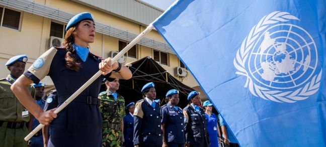 UN Photo/JC McIlwaine UNMISS Police marks UN Peacekeepers Day Commemoration ceremony and parade on the occasion of the International Day of United Nations Peacekeepers (29 May). The event was held in Juba, South Sudan, at the headquarters of the United Nations Mission in South