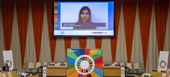 UN Photo/Eskinder Debebe Malala Yousafzai, UN Messenger of Peace and Nobel Laureate (on screen), delivers remarks at the first virtual Sustainable Development Goals (SDG) Moment of the Decade of Action.