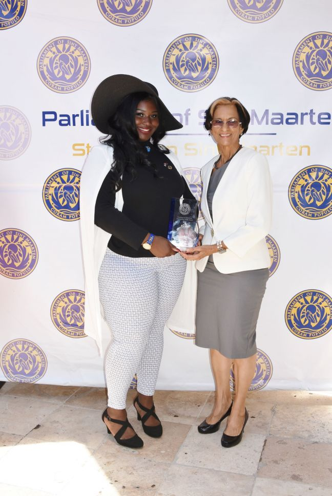 L to R: Ms. Mhakeda Shillingford and Hon. President of Parliament Mrs. Sarah Wescot-Williams.