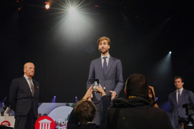 Man in the spotlight: Thierry Baudet (right) stands behind Freek Jansen. Photo: ANP/Davide Heijmans
