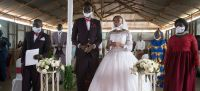 WFP/Hugh Rutherford Faith Blanchard and Seme Ludanga were married in July 2020 as the global COVID-19 pandemic continued.