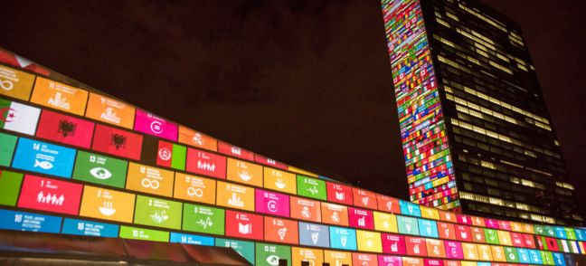 UN Photo/Cia Pak Ahead of the UN Sustainable Development Summit from 25-27 September, and to mark the 70th anniversary of the United Nations, a 10-minute film introducing the Sustainable Development Goals is projected onto UN Headquarters.