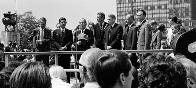UN Photo/J. Grinde American astronauts Neil Armstrong, Col. Edwin E. Aldrin, Jr. and Col. Michael Collins of Apollo 11, the first men to land on the moon, visited the United Nations where they attended a ceremony in their honour at the North Plaza of the United Nations General Assembly Building. (13 August 1969)