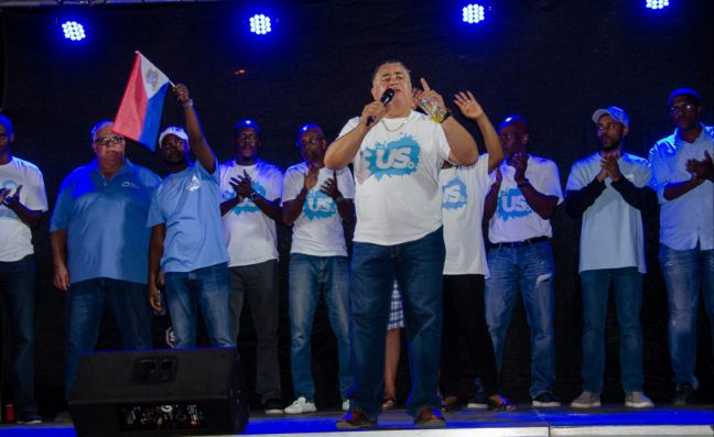United St. Maarten Party addressing the crowd in St. Peters.