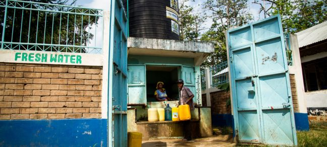 © UN-Habitat/Kirsten Milhahn Fresh water for the residents of the Majengo slums on Kenya's coast has come on tap as part of a UN-Habitat rehabilitation project. (August 2018)