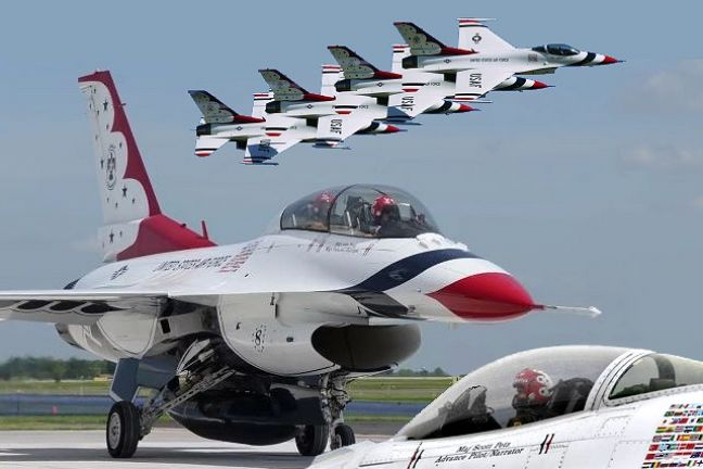 "U.S. Air Force Air Demonstration Squadron ""The Thunderbirds"" and the F-16 fighter jet. (Photo contributed)"